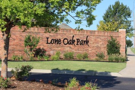 Entrance sign to Lone Oak Park neighborhood in Deer Creek, OK