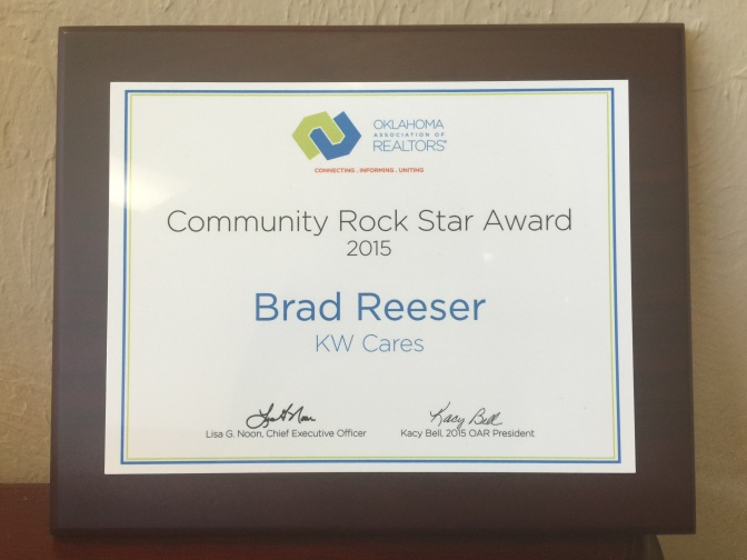 Brad Reeser Named Community Rock Star by Oklahoma Association of Realtors